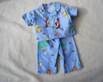 Tweety and taz cotton pajamas for bitty baby doll