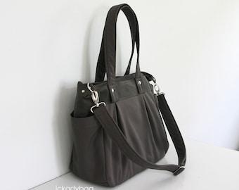 SALE - Dark Taupe Canvas bag / School / Diaper Bag / Tote Messenger bag / Shoulder bag / Gym / 3 Compartments / Men Unisex - Nuch