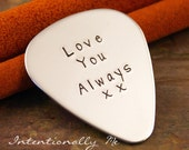 Hand Stamped Guitar Pick-  Personalized Guitar Pick - Custom Aluminum Guitar Pick - Favorite Phrase (double sided available)