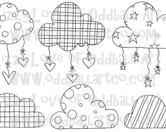 Digi Stamp Digital Instant Download Kawaii Clouds Hearts and Stars IMG No. 28 by Lizzy Love