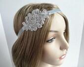 Great Gatsby Headband for Silver 20s Dress, 1920's Wedding Hair Accessories, Flapper Bridal Headpiece, Silver Beaded Headband