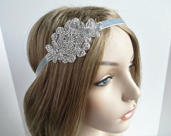 Great Gatsby Headband for Silver 20s Dress, 1920's Wedding Hair Accessories, Flapper Bridal Headpiece, Silver Beaded Headband
