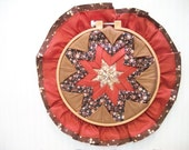 Vintage, Handmade Hoop Art,  Folded Fabric Star, Wall Hanging, Small Hoop Art, Home and Living, Country Decorating,