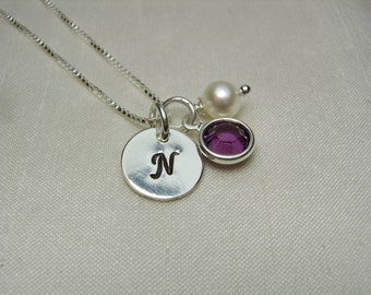 Initial Necklace Birthstone Necklace Personalized Necklace Monogram Necklace Personalized Mother Necklace Bridesmaid Jewelry Bridesmaid Gift
