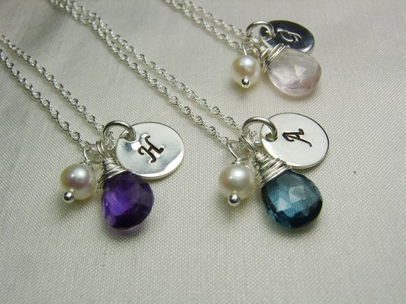 Bridesmaid Jewelry Set of 4 Personalized Bridesmaids Gifts Initial Necklace Birthstone Necklace Bridesmaid Necklace Bridal Party Gifts