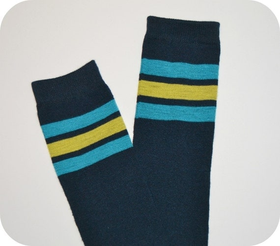 Items Similar To Old School Navy Leg/Arm Warmers With Turquoise Blue And Yellow Stripes On Etsy