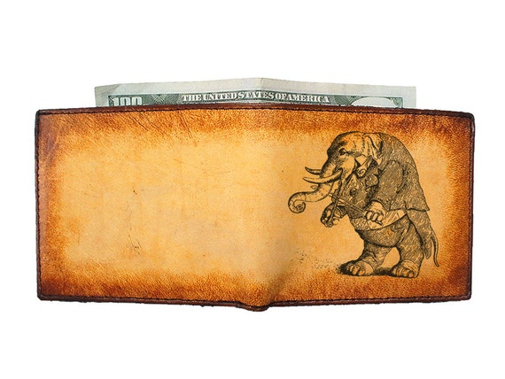 Engraved Leather Wallet - Mens Wallets - Personalized Wallet - Musical Elephant