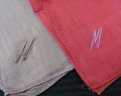Pair of Red and Brown Embroidered Cotton Hankie Monogrammed M