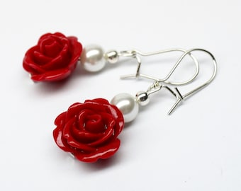 Red Roses and Pearls Romantic Earrings, Bridal Jewelry