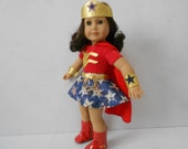 Wonder Girl  super hero inspired costume for American Girl doll 18 in hand made in USA