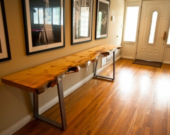 Live Edge Pine Console Table, Steel Trapezoid Legs, Custom