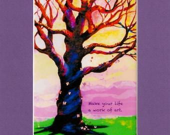 "Make Your Life a Work of Art-Blue Butterfly Tree-8""x10"" Purple Mat-5""x7"" -Original Art Print by SQ Streater"