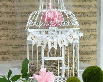 Birdcage wedding cardholder card box wedding box Large size with banner Cards with kissing ball