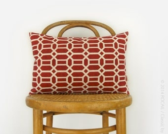 SALE || Geometric Outdoor Pillow Case | Brick Red and Beige Cushion Cover | Colorful Garden Patio Decor | 12x18 inches / 30x45 cm