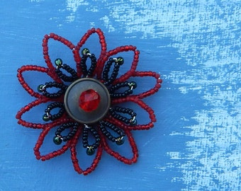 Red and Black Petal Flower Pendant
