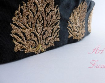 Black  and Gold  Embroidered Fabric Trim- 1 Yard