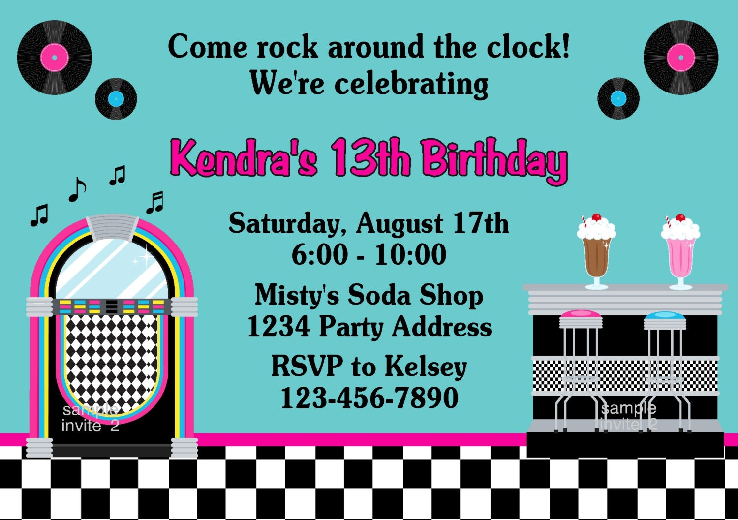 Fifties party invitation malts jukebox birthday by jcsaccents