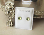 Light round Green Dot Sterling Silver Stud Earrings gift for her or him