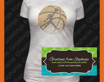 Ladies Basketball Rhinestone T-shirt