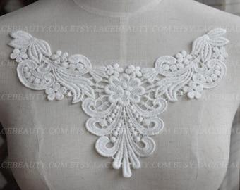 Cream White Venice Cotton lace Collar Appliques Floral Emboridered Collar 1 pcs