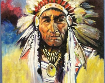 24*30 inch Native American Indian chief
