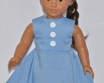 Fits American Girl Doll - Handmade Doll Clothes - Simple Blue Gray Dress Decorative Buttons On Bodice