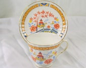 Vintage Duchess England Bone China Teacup and Saucer Asian Pagoda Orange Flowers Gold Trim