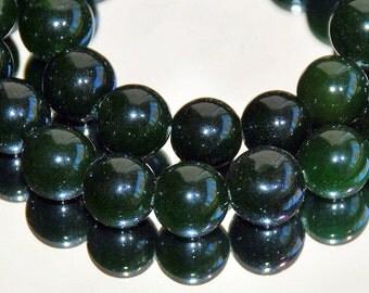 Full Strand 10mm Dark Dark Green Agate Gemstone Beads - 36 beads