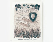 Lion and Cub Card Father's Day Card 1pc
