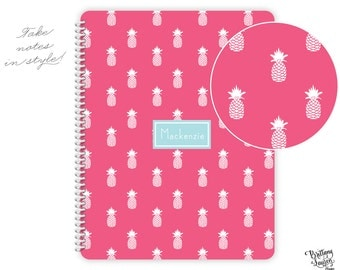 Preppy Fruit Collection - Monogrammed Personalized Notebook - Pineapples with Heart