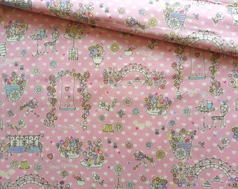 Japanese Fabric Cotton, Yuwa Fabric, Floral Fabric, Flower Fabric, Kawaii Fabric, Pink Fabric, Girly Fabric/Romantic Garden/a yard