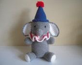 Crocheted Stuffed Amigurumi Elephant Clown with Hat