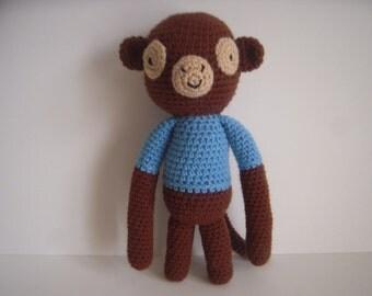 Crocheted Stuffed Amigurumi Monkey in Blue Shirt