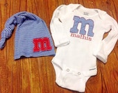 Personalized  Hat and Creeper Set - Newborn Boy Set -  Initial Hat - Newborn Hat - Newborn Photo Prop - Newborn Boy - Coming Home Set