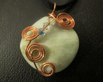 Copper wire wrapped jade necklace with Swarovski crystals