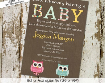 owl baby shower invitation gender neutral gender reveal couples shower diaper twins bring a book coed (item 1415) shabby chic invitations