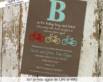 baby boy shower invitation bike bash b is for boy gender neutral gender reveal couples sprinkle diaper (item 1250) shabby chic invitation