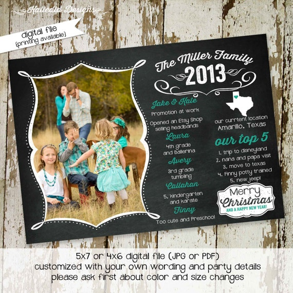 Christmas, Holiday or New Years greeting card, chalkboard year in review newsletter, any colors digital, printable file (item 852)