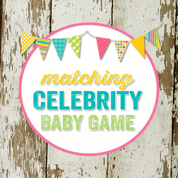 CELEBRITY BABY GAME to match any design for baby shower or party, digital, printable file