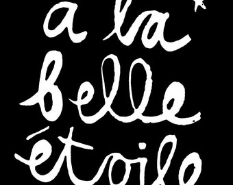 Beautiful Star (A La Belle Etoile) in Black and White -  8x10 INSTANT DOWNLOAD Printable Digital Art.