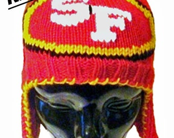"Knitting Pattern Red, Gold and Black ""SF"" Ear Flap Hat"