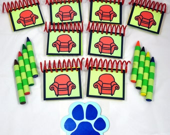 Blue's Clues Handy Dandy PARTY FAVORS Notebooks & Striped Jumbo Crayons