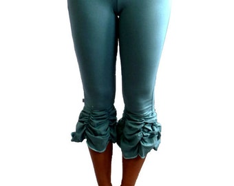 Medium Turquoise Ruched Yoga Capri  Pant  With Fold Over Waistband