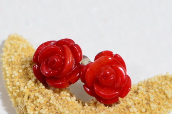 Coral Carved Rose Studs Earring. Sterling Silver Studs Earrings. Red Rose Earrings