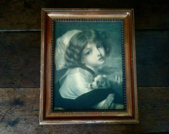 Vintage French Girl with Puppy Jean-Baptiste Greuze reproduction print circa 1950's / English Shop