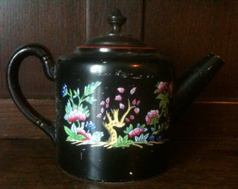 Antique English Black Victorian Tea Pot circa 1910's / English Shop