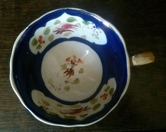 Vintage English Dark Blue Tea Cup Flowers Colourful circa 1940-50's / English Shop