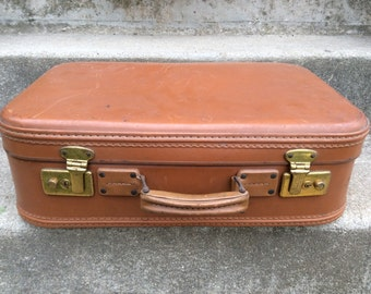 Vintage French tobacco brown travel hard case suitcase bag circa 1960's / English Shop