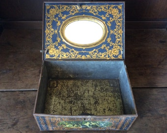 Vintage French Mirror Family Scene Collectable Tin Metal Storage Box With Mirror circa 1920-30's / English Shop