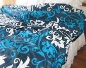 Turquoise royal blue navy white modern floral Duvet cover Cal King Queen Double Full Turkish cotton Turkey Istanbul style Modern bedding